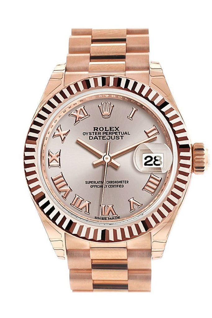 Rolex Datejust 28 Sundust Roman Dial Fluted Bezel Rose Gold President Ladies Watch 279175 / None