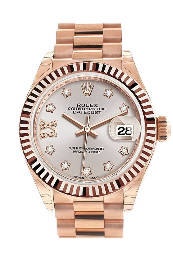 Rolex Datejust 28 Sundust 9 Diamonds Set In Star Dial Fluted Bezel Rose Gold President Ladies Watch