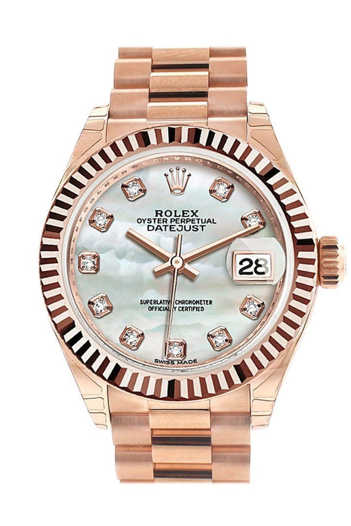 Rolex Datejust 28 Mother Of Pearl Diamond Dial Fluted Bezel Rose Gold President Ladies Watch 279175