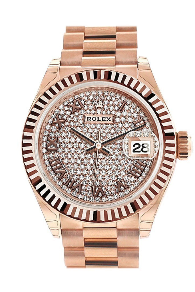 Rolex Datejust 28 Pave Diamond Dial Fluted Bezel Rose Gold President Ladies Watch 279165 / None