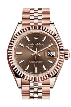 Rolex Datejust 28 Chocolate Dial Fluted Bezel Rose Gold Jubilee Ladies Watch 279175