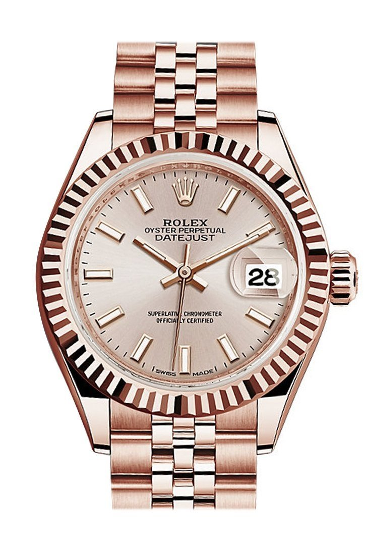 Rolex Datejust 28 Sundust Dial Fluted Bezel Rose Gold Jubilee Ladies Watch 279175 / None