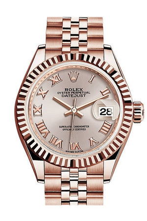 Rolex Datejust 28 Sundust Roman Dial Fluted Bezel Rose Gold Jubilee Ladies Watch 279175 / None