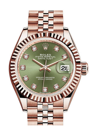 Rolex Datejust 28 Olive Green Diamond Dial Fluted Bezel Rose Gold Jubilee Ladies Watch 279175 / None