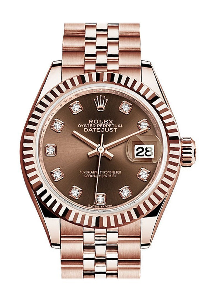 Rolex Datejust 28 Chocolate Diamond Dial Fluted Bezel Rose Gold Jubilee Ladies Watch 279175 / None