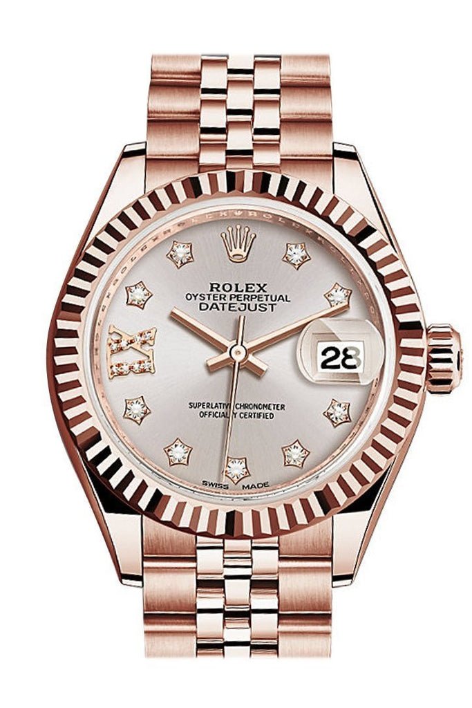 Rolex Datejust 28 Sundust 9 Diamonds Set In Star Dial Fluted Bezel Rose Gold Jubilee Ladies Watch