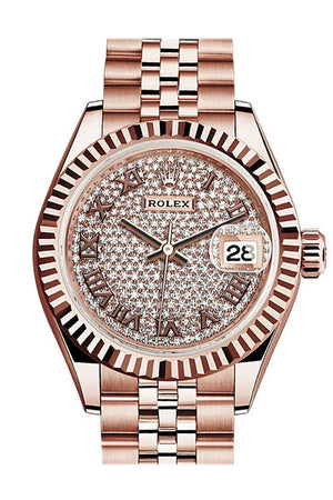 Rolex Datejust 28 Pave Diamond Dial Fluted Bezel Rose Gold Jubilee Ladies Watch 279165 / None