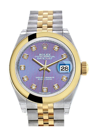 Rolex Datejust 28 Lavender Diamond Dial Yellow Gold Two Tone Jubilee Ladies Watch 279163 / None