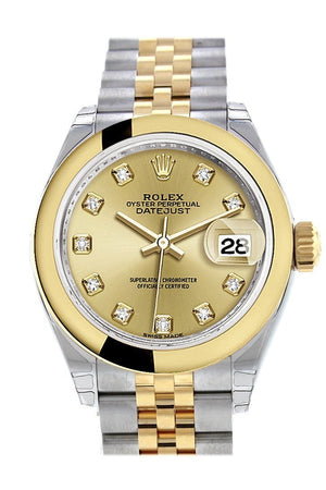 Rolex Datejust 28 Champagne Diamond Dial Yellow Gold Two Tone Jubilee Ladies Watch 279163 / None