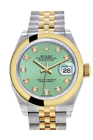 Rolex Datejust 28 Mint Green Diamond Dial Yellow Gold Two Tone Jubilee Ladies Watch 279163 / None