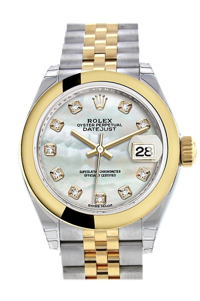 Rolex Datejust 28 Mother Of Pearl Diamond Dial Yellow Gold Two Tone Jubilee Ladies Watch 279163 /