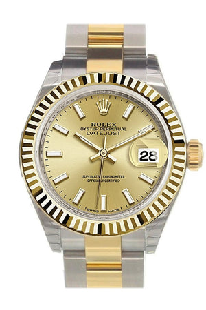Rolex Datejust 28 Champagne Dial Fluted Yellow Gold Two Tone Ladies Watch 279173
