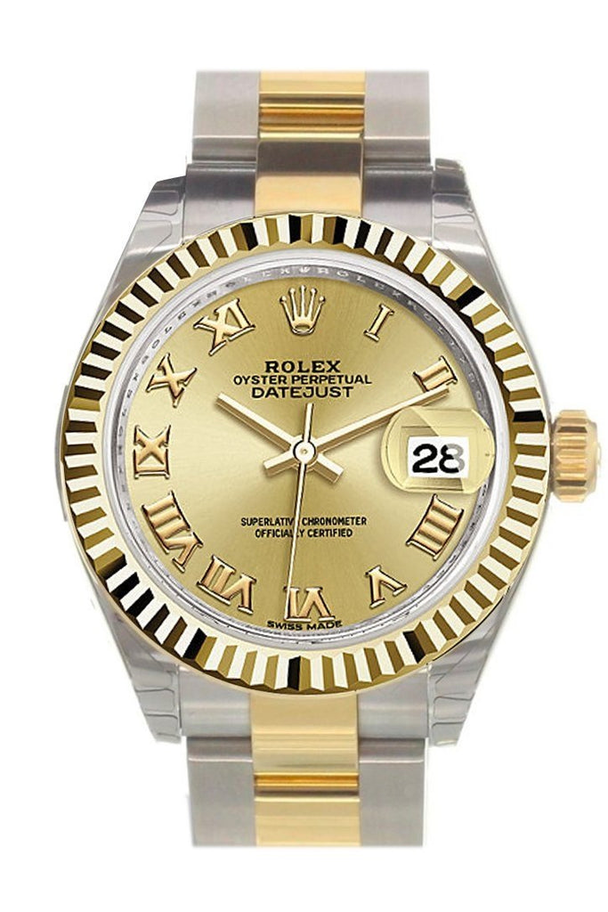 Rolex Datejust 28 Champagne Roman Dial Fluted Yellow Gold Two Tone Ladies Watch 279173