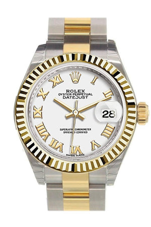 Rolex Datejust 28 White Roman Dial Fluted Yellow Gold Two Tone Ladies Watch 279173