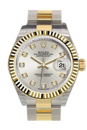 Rolex Datejust 28 Silver Diamond Dial Fluted Yellow Gold Two Tone Ladies Watch 279173