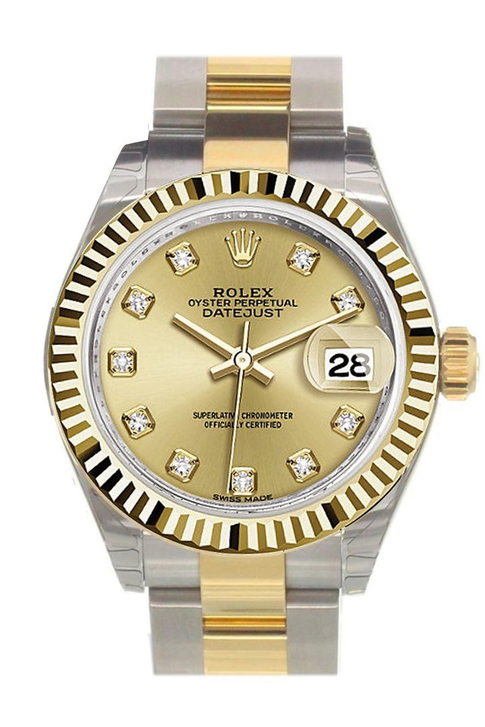 Rolex Datejust 28 Champagne Diamond Dial Fluted Yellow Gold Two Tone Ladies Watch 279173