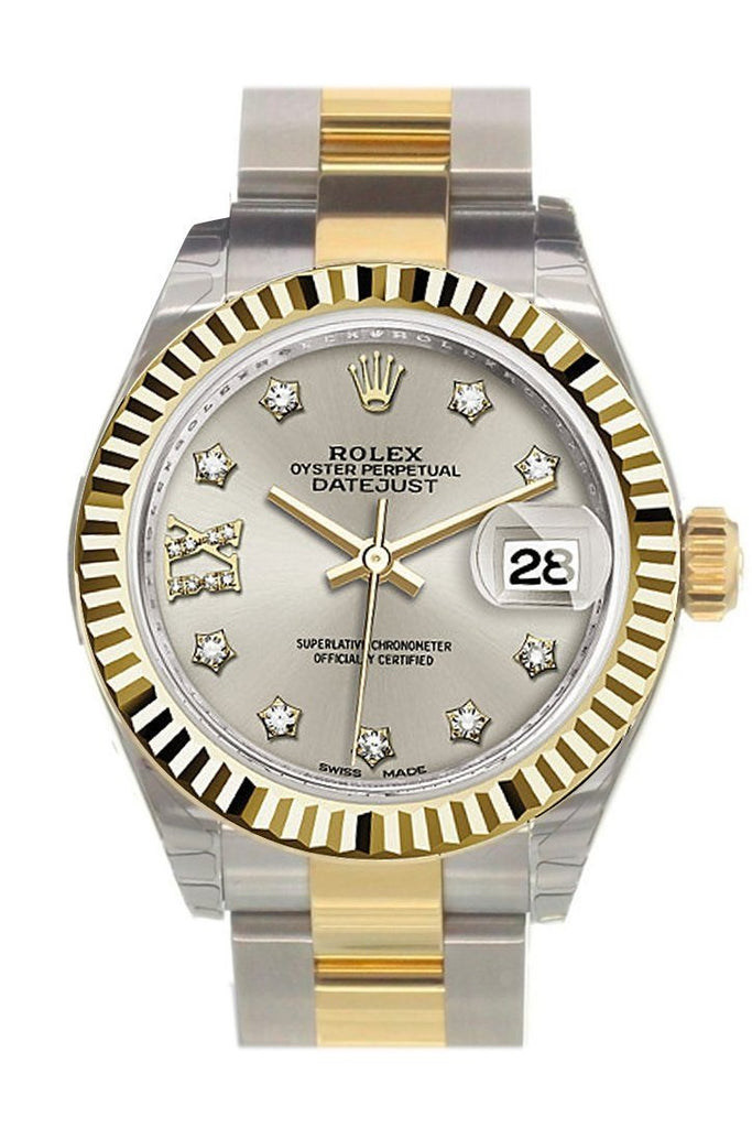 Rolex Datejust 28 Silver 9 Diamonds Set In Star Dial Fluted Yellow Gold Two Tone Ladies Watch 279173