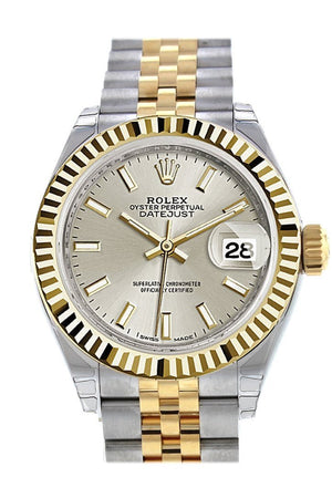 Rolex Datejust 28 Silver Dial Fluted Yellow Gold Two Tone Jubilee Ladies Watch 279173 / None
