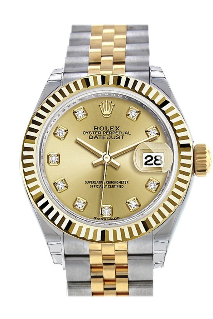 Rolex Datejust 28 Champagne Diamond Dial Fluted Yellow Gold Two Tone Jubilee Ladies Watch 279173 /