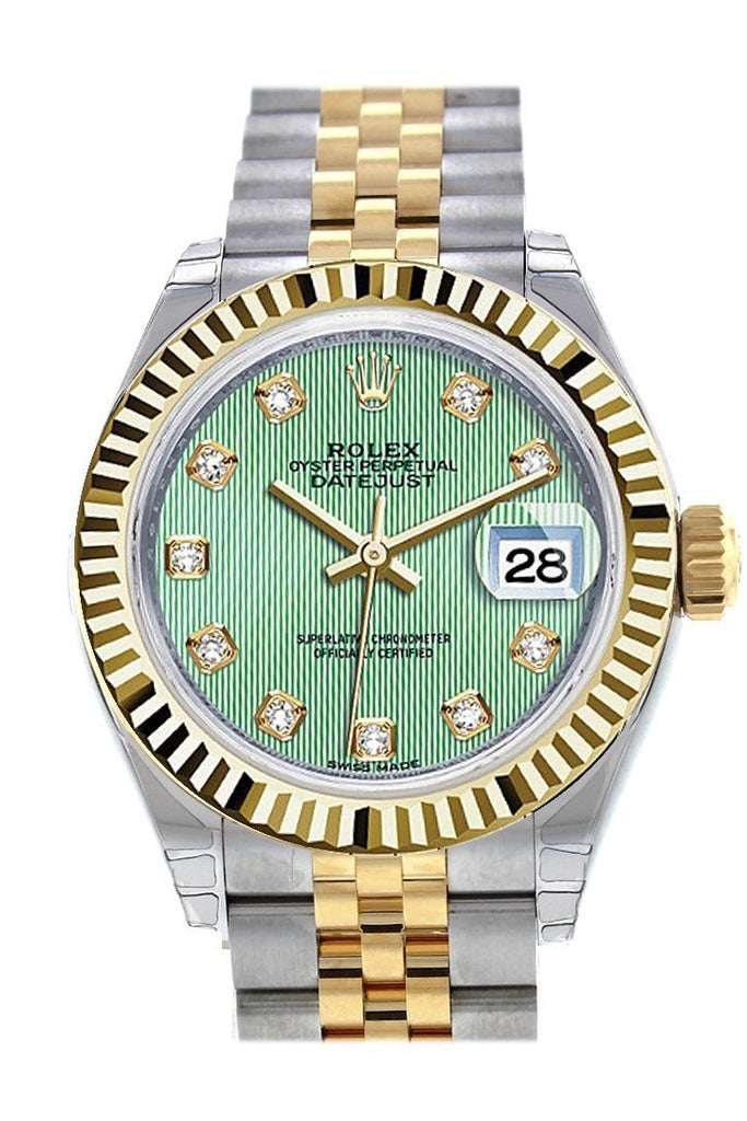 Rolex Datejust 28 Mint Green Diamond Dial Fluted Yellow Gold Two Tone Jubilee Ladies Watch 279173 /