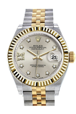 Rolex Datejust 28 Silver 9 Diamonds Set In Star Dial Fluted Yellow Gold Two Tone Jubilee Ladies