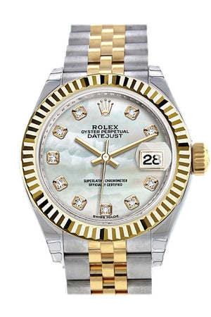 Rolex Datejust 28 Mother Of Pearl Diamond Dial Fluted Yellow Gold Two Tone Jubilee Ladies Watch