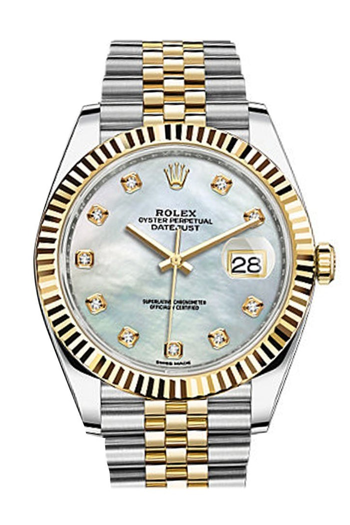 Rolex Datejust 41 Mother-of-pearl set with Diamonds Dial 18k Yellow Gold Fluted Bezel Jubilee Mens Watch 126333