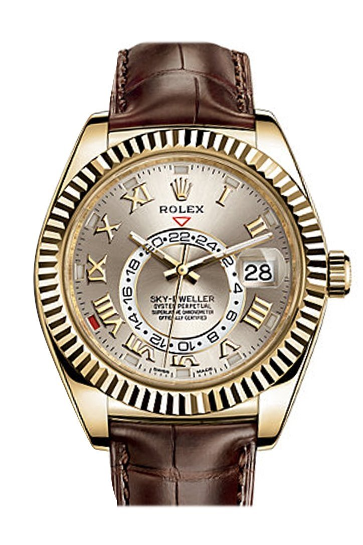 Rolex Sky Dweller Silver Dial 18K Yellow Gold Brown Leather Strap Mens Watch 326138