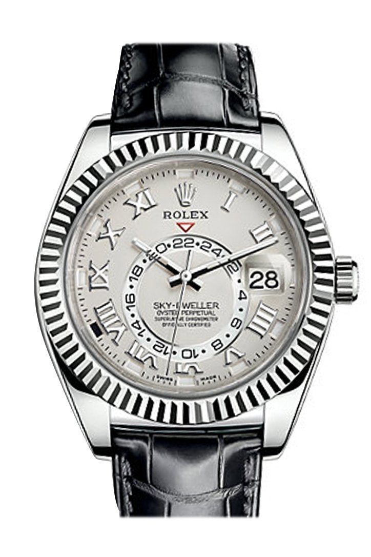 Rolex Sky Dweller Ivory Dial 18K White Gold Black Leather Strap Mens Watch 326139