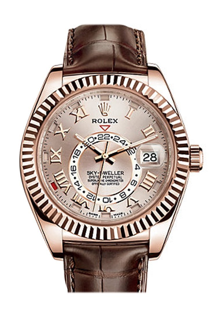 Rolex Sky Dweller Sundust Dial 18K Rose Gold Brown Leather Strap Mens Watch 326135
