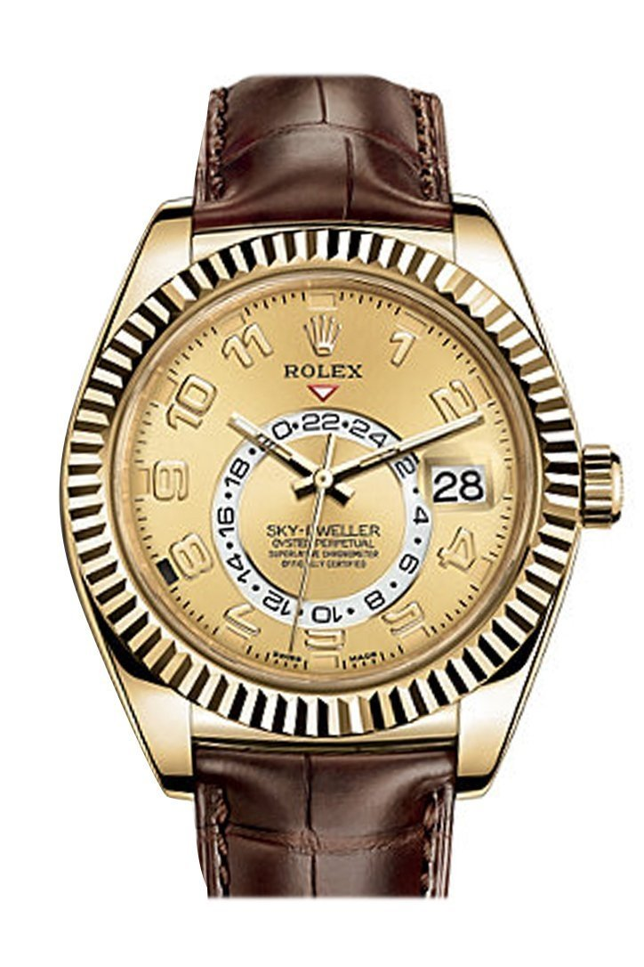 Rolex Sky Dweller Champagne Dial 18K Yellow Gold Brown Leather Strap Mens Watch 326138