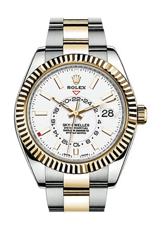 Rolex Sky Dweller White Dial 18K Yellow Gold Bezel Two Tone Oyster Mens Watch 326933
