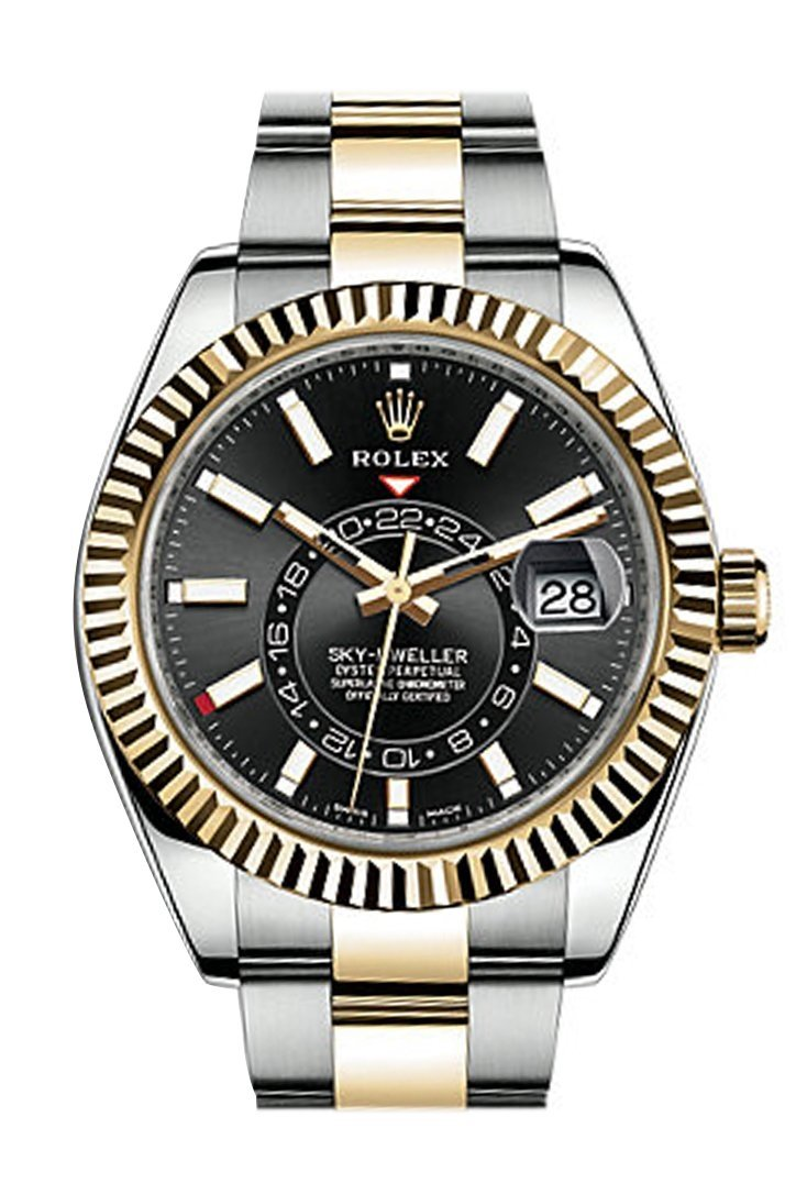 Rolex Sky Dweller Black Dial 18K White Gold Bezel Two Tone Oyster Mens Watch 326933