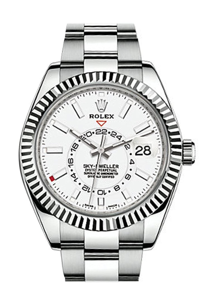 Rolex Sky Dweller White Dial 18K White Gold Bezel Steel Oyster Men's Watch 326934