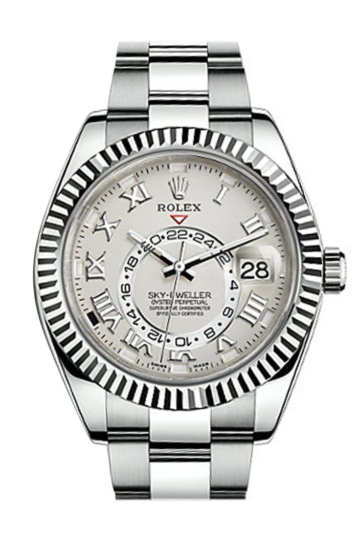 Rolex Sky Dweller White Dial 18K White Gold Bezel White Gold Oyster Men's Watch 326939