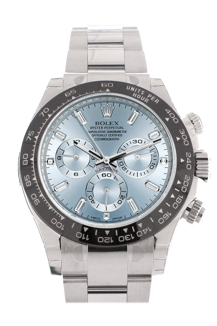 Rolex Cosmograph Daytona Ice Blue 8 Baguette Diamond Platinum Mens Watch 116506