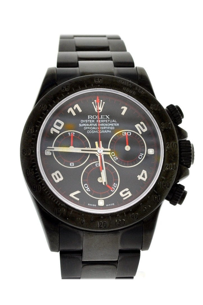 Custom ROLEX Black-PVD Cosmograph Daytona Black Dial Black Mens Watch