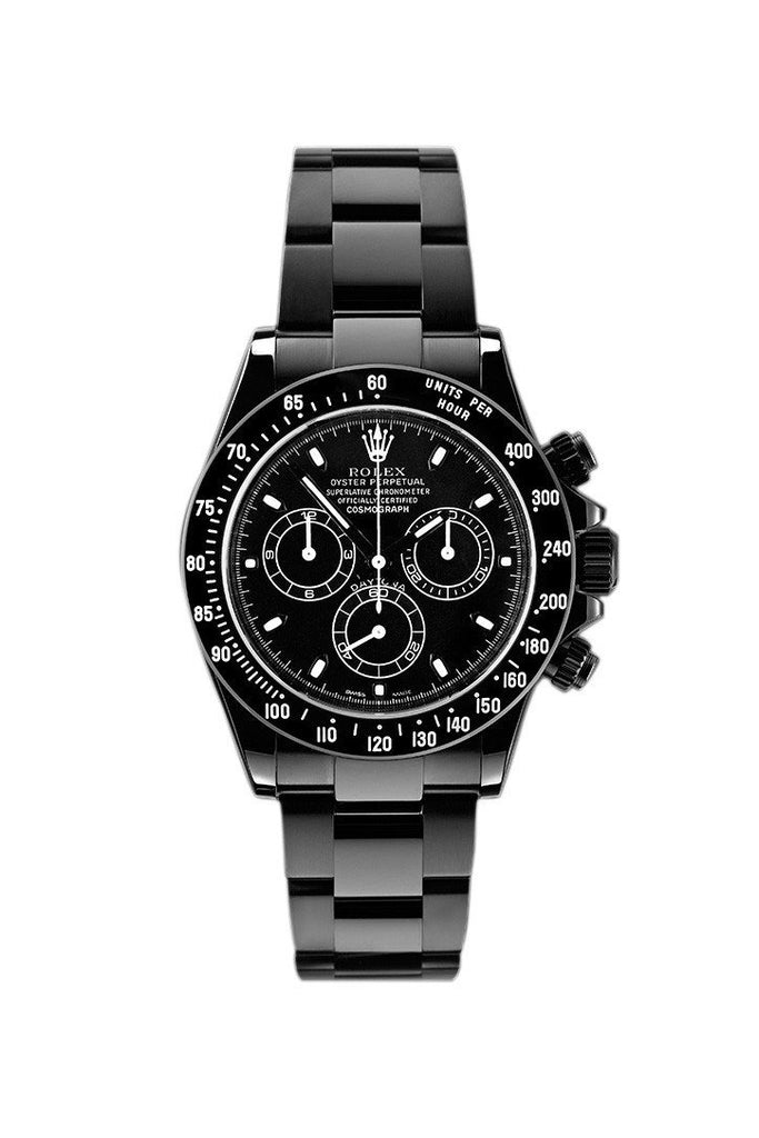 Rolex Black-Pvd Cosmograph Daytona Black Dial Stainless Steel Boc Coating Oyster Mens Watch Pvd