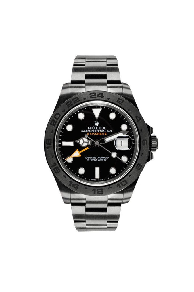 Rolex Black-Pvd Explorer Ii Black Dial Stainless Steel Boc Coating Oyster Automatic Mens Watch