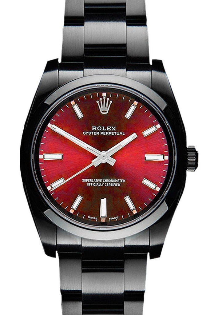 Rolex Black-Pvd Oyster Perpetual Red Dial Stainless Steel Black Boc Coating Mens Watch 114300 / None