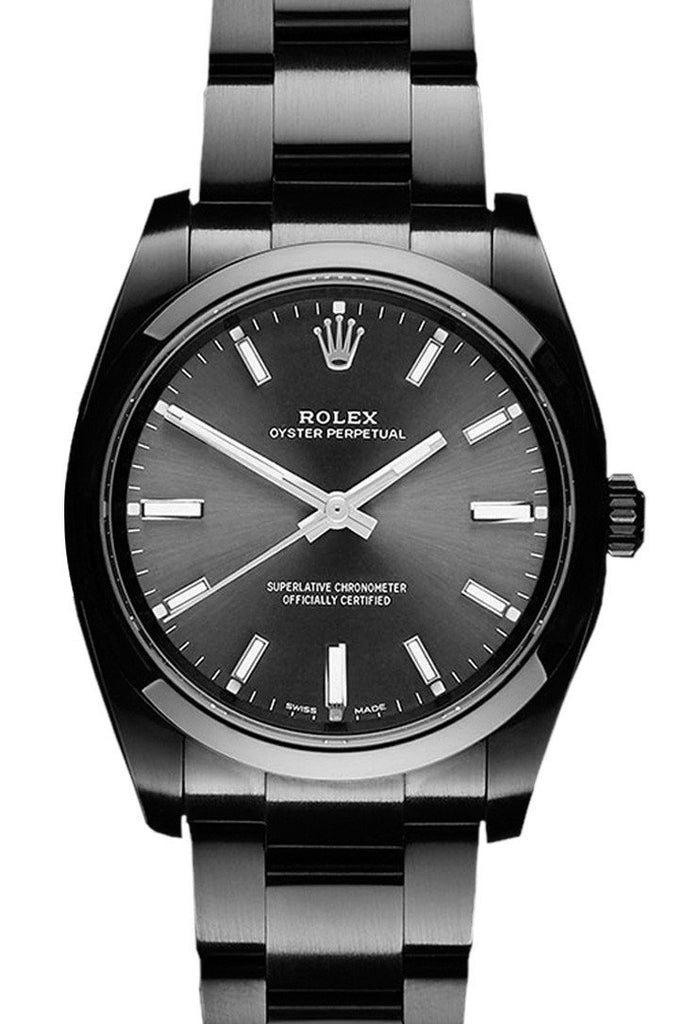 Rolex Black-Pvd Oyster Perpetual Black Dial Stainless Steel Boc Coating Mens Watch / None Pvd