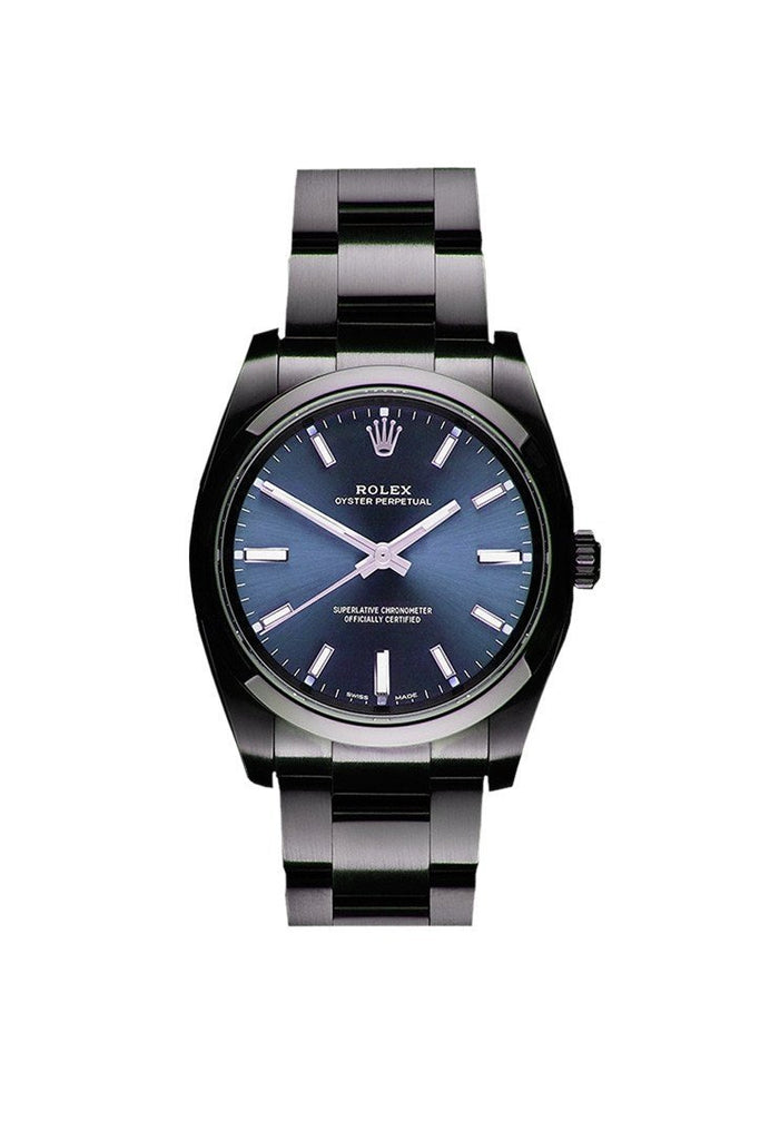 Rolex Black-pvd Oyster Perpetual Blue Dial Stainless Steel Black Boc Coating Oyster Men's Watch 114300