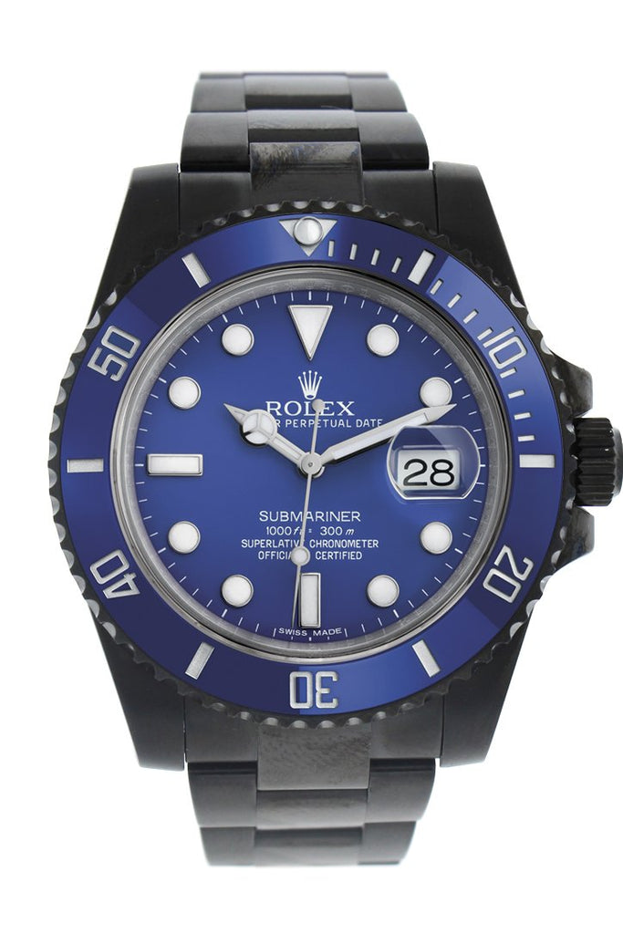Rolex Black-Pvd Submariner Blue Dial Cerachrom Bezel Steel Black Boc Coating Mens Watch Pvd