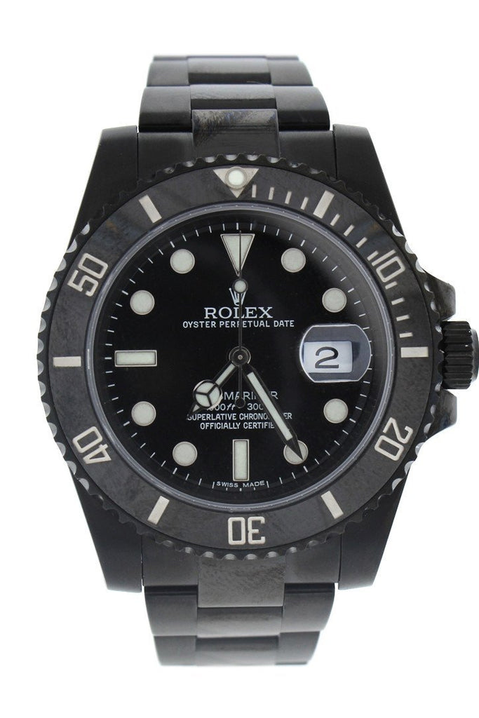 Rolex Black-Pvd Submariner Black Dial Cerachrom Bezel Steel Boc Coating Mens Watch 116610 / None