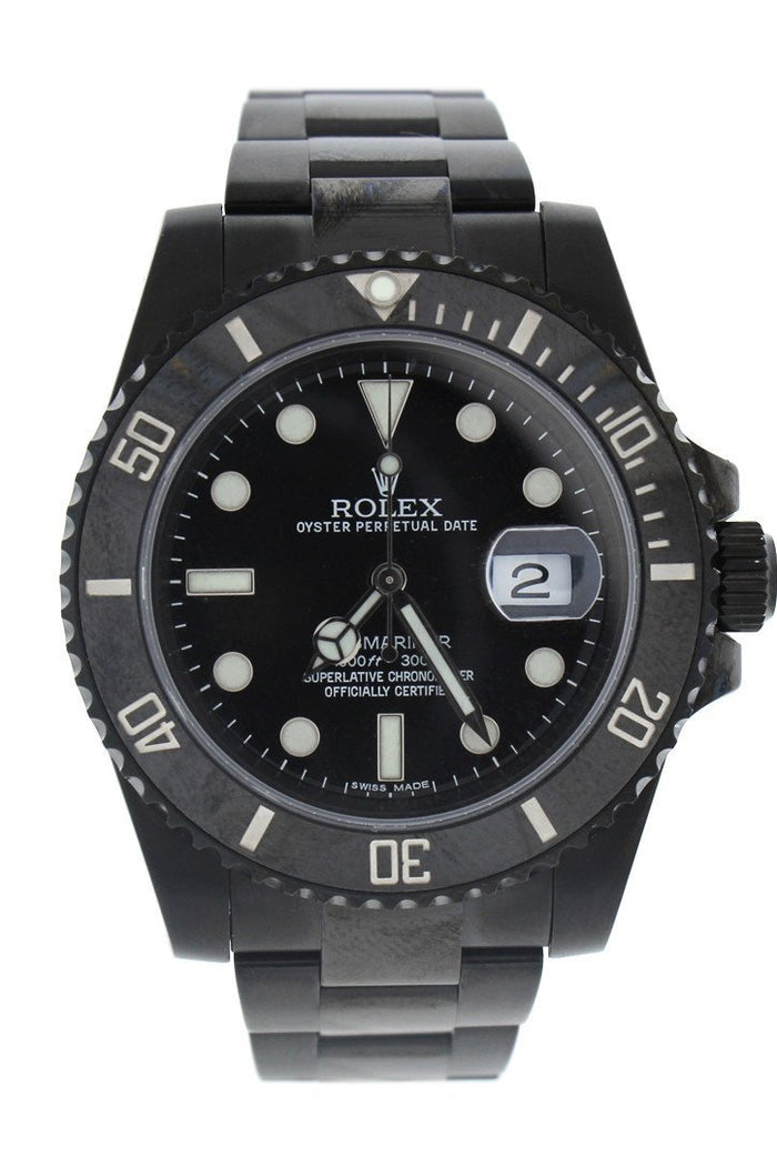 ROLEX Black-PVD Submariner Black Dial Black Cerachrom Bezel Steel Black BOC Coating Men's Watch 116610