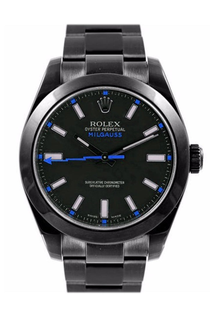 Rolex Black-pvd Milgauss Black Red Index Dial Domed Bezel l Black Boc Coating Oyster Bracelet Unisex Watch 116400v