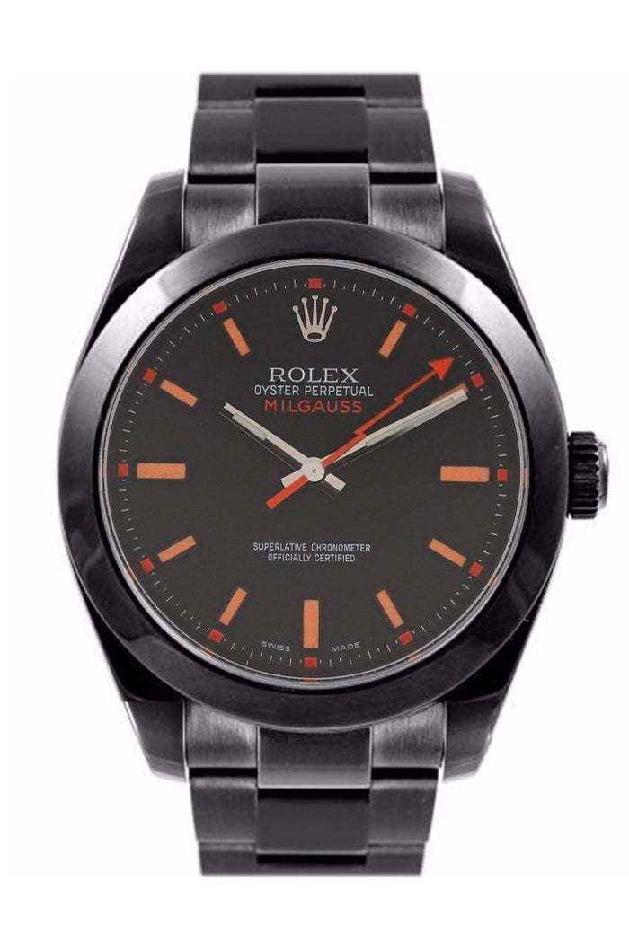 Rolex Black-pvd Milgauss Black Blue Index Dial Domed Bezel Black Boc Coating Oyster Bracelet Unisex Watch 116400v