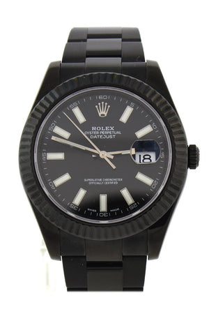 Rolex Black-Pvd Datejust Black Dial Stainless Steel Boc Coating Oyster Mens Watch 116334 / None Pvd
