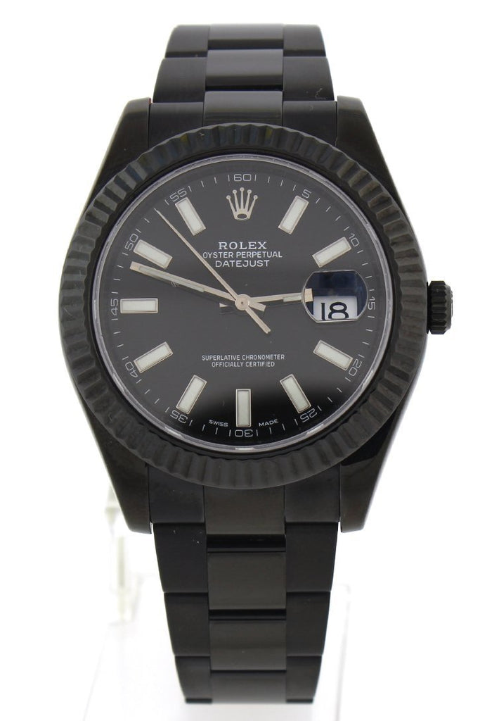Rolex Black-pvd Datejust Black Dial Stainless Steel Black Boc Coating Oyster Men's Watch 116334