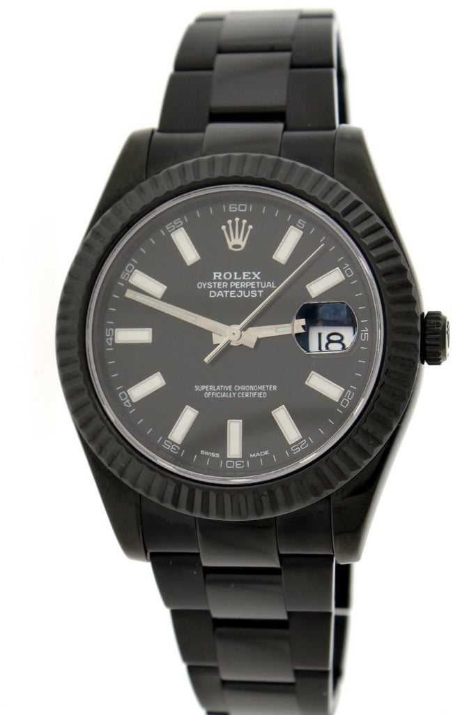 Rolex Black-Pvd Datejust Black Dial Stainless Steel Boc Coating Oyster Mens Watch 116334 Pvd